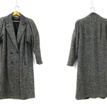 Vintage 1980s Black White Speckled Coat Princess Trench Coat Long Womens Winter Coat Double Breasted Size 10 Medium Large