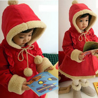 Baby Girls Winter Warm Jacket Kids Christmas Hoodies Coat 6M-5Y Outerar Jacket