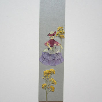 "Handmade unique bookmark ""Exchange energy"" - Decorated with dried pressed flowers and herbs - Original art collage."