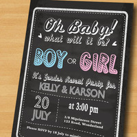 chalkboard baby shower Boy Or Girl Gender Reveal Invitation / chalkboard boy or girl announcement Party / baby boy or girl - card 252