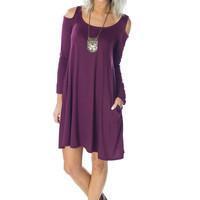 Cold Shoulder, Warm Heart- Wine Dress