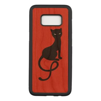 Red Gracious Evil Black Cat Carved Samsung Galaxy S8 Case
