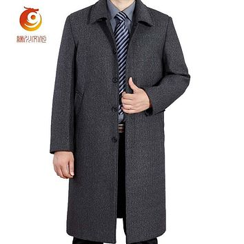 Winter New Fashion Wool Man Coat Classic The Long Section Thick Men Winter Parkas Casual Warm Business Gentleman Coat Size 5XL