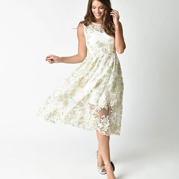 1950s Style White & Gold Floral Embroidered Midi Swing Dress