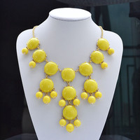 Yellow bubble necklace, Bib Statement Necklace, holiday party,bridesmaid gifts, Beaded Jewelry, wedding necklace,
