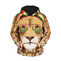 Autumn and winter digital color lion printing hooded 3D sweater couple