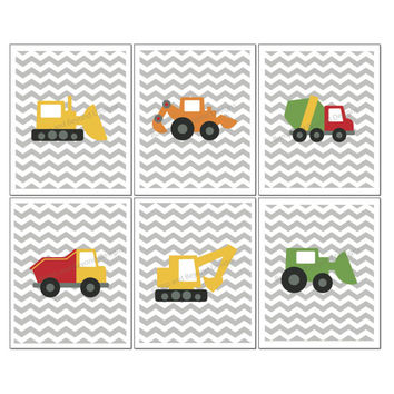 KIDS ROOM Wall Art Construction Trucks Vehicles Set of 6 Instant Download Printable Grey Chevron Printable Boys Bedroom Decor 8x10