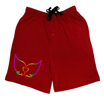 Cute Rainbow Angel Wings Heart Adult Lounge Shorts - Red or Black