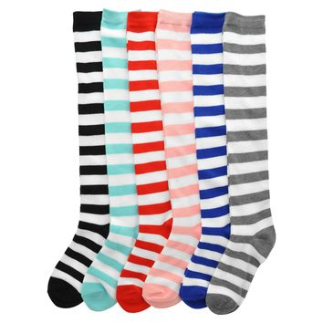 Angelina Knee-High Novelty Color Stripes Socks (6-Pairs)