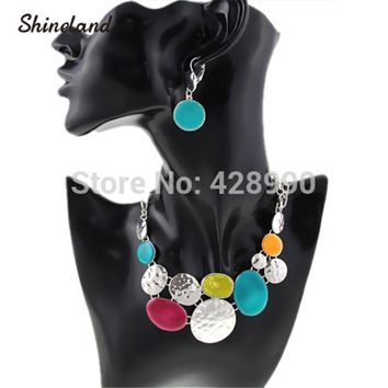 Shineland 2017 New Women Fashion Ethnic Colorful Resins Exaggerated Pendants Chunky Chains Statement Necklaces Jewelry