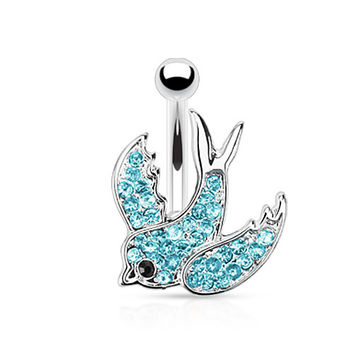 Blue Swallow Belly Ring with Paved Gems 316L Surgical Steel Navel Ring