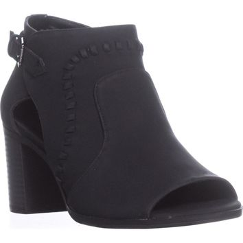 Easy Street Poppet Peep Toe Ankle Boots, Black, 6.5 US