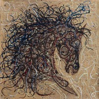 Abstract Horse Pollock Style #2 (2017) Mixed Media painting by Lena Owens