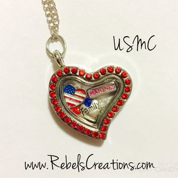 United States Marine Corps USMC Girlfriend Wife Mom Grandma Fiancee Floating Charm Locket Marines Military USA