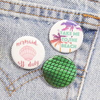 Mermaid Tail 1.25 Inch Pin Back Button Badge