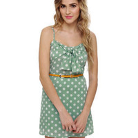 Cute Polka Dot Dress - Mint Green Dress - Sundress - $38.00