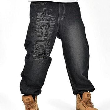 ONETOW Men's Black Baggy Jeans Hip Hop Designer Brand Skateboard Pants loose Style Plus Size 30-46 True HipHop Rap Jeans Boy Trousers