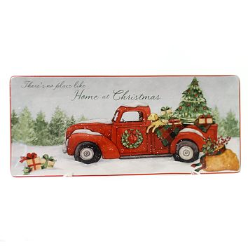 Tabletop HOME FOR CHRISTMAS TRAY Ceramic Truck Puppy Dog 22787