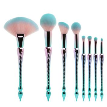 New Style 8Pcs/Set Professional Makeup Brushes Long Handle Fan Brush Unicorn Mermaid pincel maquiagem Green