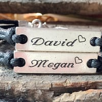 Name Bracelets Personalized Couples bracelets, Personalized engraved bracelet, Couples bracelet  Name Bracelets couples silver name bracelet