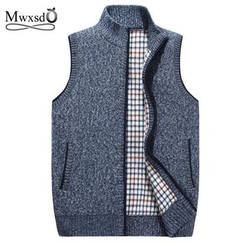 Mwxsd brand Autumn Winter men's Wool sleeveless Cardigans Vest Sweater Men Casual Cashmere knitted Waistcoat for male