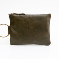 Khaki Green leather Clutch - Small Leather Purse - Leather Wristlet - Women Evening Clutch Bag - Metal ring in Brass color