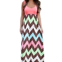 Women Sleeveless Striped Long Full Length Summer Beach Dress