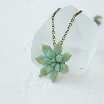 Small Green Blue Succulent Necklace Pendant Wholesale Mini Succulent Plants Arrangement Succulent Jewelry Birthday Christmas Wedding Gifts
