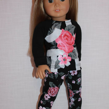 18 inch doll clothes, floral graphic print shirt,  floral print leggings, Upbeat Petites