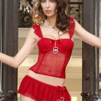 Wholesale Sexy Charming Lace Embellished Lingerie Suit Red
