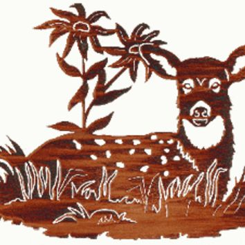 Fawn with Flowers Laser Cut Metal Wall Art