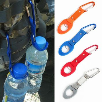 Aluminum Carabiner Water Bottle Rubber Holder Colorful Hiking Rope Buckle Hook Carabiners Random Color 2018 New Outdoor Camping