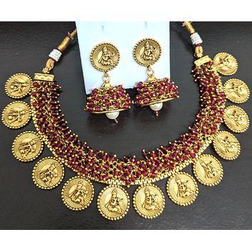 Antique gold Traditional Lord Krishna cluster bead choker Necklace and Jhumka Earring set