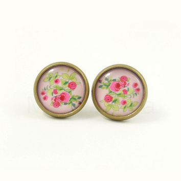 Pink Floral Earring Studs - Shabby Chic Jewelry - Pink Green Rose Earring Posts - Rose Jewelry - Floral Jewelry
