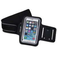 iPhone SE Armband, Fosmon FORCE Adjustable Neoprene Running / Jogging / Workout Armband Holder for the Apple iPhone SE / 5S / 5C / 5 (Black)