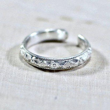 silver toe ring wholesale 10 pc - sterling thin band toe rings - wholesale toe ring - dainty toe ring - pattern toe ring