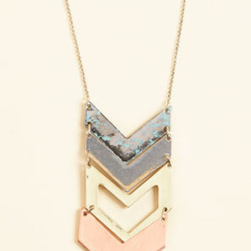 Chevron My Way Over Pendant Necklace