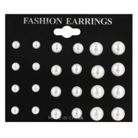 17KM 12 pairs/ set Simulated Pearl Earrings For Women Jewelry Bijoux Brincos Pendientes Mujer  Fashion Stud Earrings
