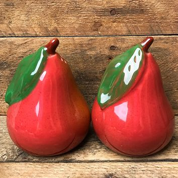 Red Pear Shaped Salt & Pepper Shakers