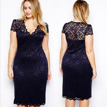 Blunt diamond grade Sales promotion Special offer Plus Size Sexy Women Floral Lace Bodycon Dresses Midi Dress V-Neck Pencil Dress The best regards = 5659552257