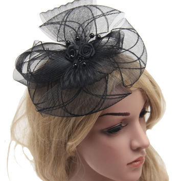 Retail Fascinator cocktail hat for Wedding Holiday Fashion  Party Hair Accessory Women Hair Headband with Clip Vintage