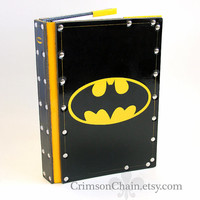 Shiny Batman leather sketchbook cover by Crimson Chain Leatherworks