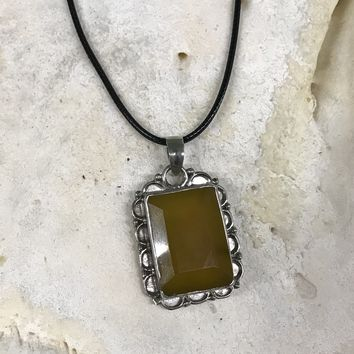 Rectangular Yellow Gemstone Necklace