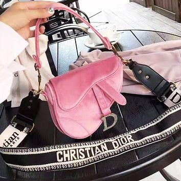 DIOR Fashion Women Shopping Bag Velvet Handbag Shoulder Bag Saddle Bag Satchel Pink