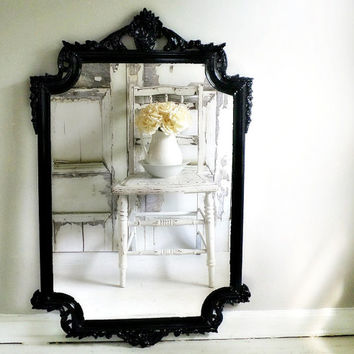 H O L L Y W O O D Regency Ornate Glossy Black Mirror