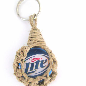 Miller Lite Upcycled Keychain Hemp Bottle cap Keychain Men's