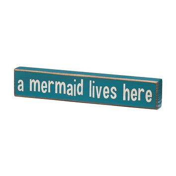 A Mermaid Lives Here Wooden Box Sign