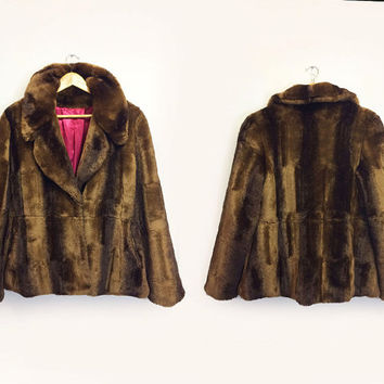Vintage 1980's COGNAC Glam Faux Mink Fur Cropped Chubby Animal Friendly Vegan Coat || Size Medium Small