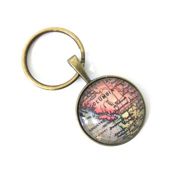 British Columbia Vintage Map Small Pendant