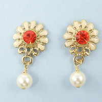 White Daisy Earrings, Enamel Flower Post Earrings, Orange Rhinestone Pearl Drop Earrings